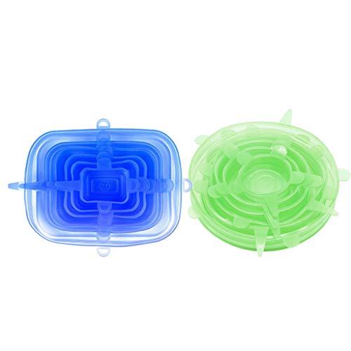 Gazechimp 2 Juegos de Tapas de Envoltura Elástica de Silicona para Cocina Tapas para Cuencos Fresh-Care Eco-Friendly
