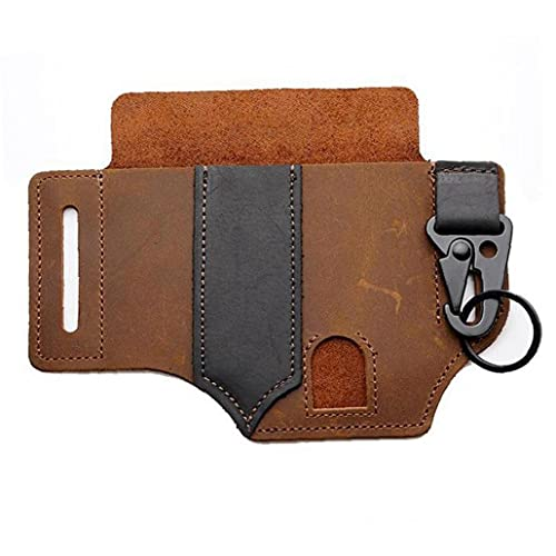 Tuimiyisou Leather Sheath Multitool Pocket Organizer Flashlight Pouch with Pen Holder Key Fob Brown for Leatherman Men