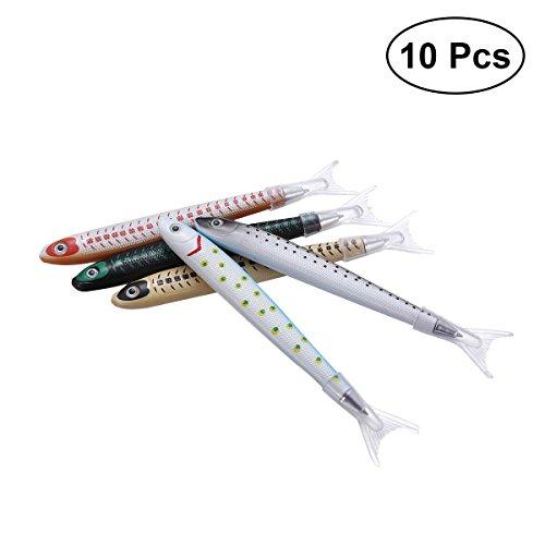 STOBOK 10 stücke Neuheit Kugelschreiber Fisch Form Rollerball Stift für Kinder Schule Schreibwaren (Gelegentliches Muster)