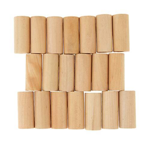 IPOTCH 20er Pack Holz Perlen Zylinder Unvollendete Spacer Bead Rohr Perle Set Bastelperlen für Spielzeug zum basteln - Holz, 20x40mm