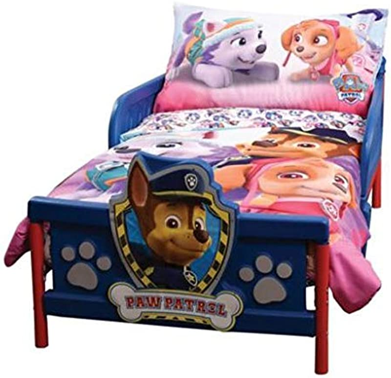 Paw Patrol Pink 3 Piece Toddler Bedding Set Comforter Fitted Sheet Pillowcase Skye Everest