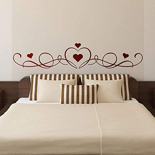 Adhesivo de pared para cabecero de cama, diseño de corazón y cabecero de cama, pegatinas de vinilo de gran tamaño para cuarto de bebé, decoración de pared para sala de estar, murales florecientes