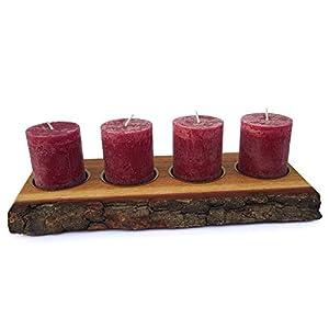 Adventskranz Holz modern aus Eichenholz mit Waldkante als Deko Kerzenhalter inkl. 4 Adventskerzen mit Zahlen. HANDMADE…
