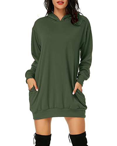 Auxo Women's Long Sleeve Hooded Pockets Pullover Hoodie Dress Tunic Sweatshirt Army Green XL