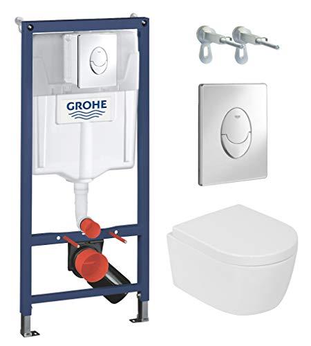 Domino Lavita Wand WC ohne Spülrand + WC-Sitz mit Soft-Close-Absenkautomatik + Vorwandelement inkl. Drückerplatte Skate Air (Geo, Drückerplatte chrom glänzend)