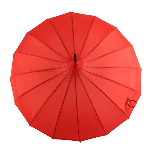 Winddicht Versterkte regen en regen Dual-use Impact Doek Rechte Stang Lange Handvat Effen Kleur Pagode Paraplu