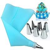 AukCherie Douilles Pâtisserie, 8 Pièces en Acier Inoxydable DIY Kits, 6 Douilles, 1 Poche Pâtisserie, 1 Coupleurs, DIY Kits pour Décoration de Gâteaux (Blue -1)