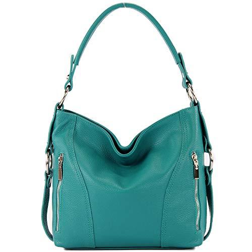 modamoda de - T202 - Borsa a mano/tracolla da donna italiana in pelle, Colore:turchese blu