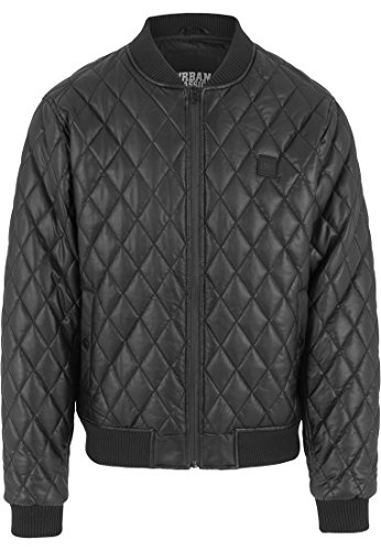 Urban Classics Herren Jacke Jacke Diamond Quilt Leather Imitation Jacket schwarz (Schwarz) Large