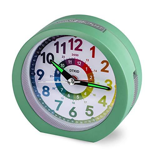Relojes de Alarma silenciosos Mesita de Noche Sin tictac Relojes de Mesa con Pilas Pantalla Grande Luminosa Función de luz de repetición para Dormitorio Oficina [Clase energética A +++] (Verde-804)