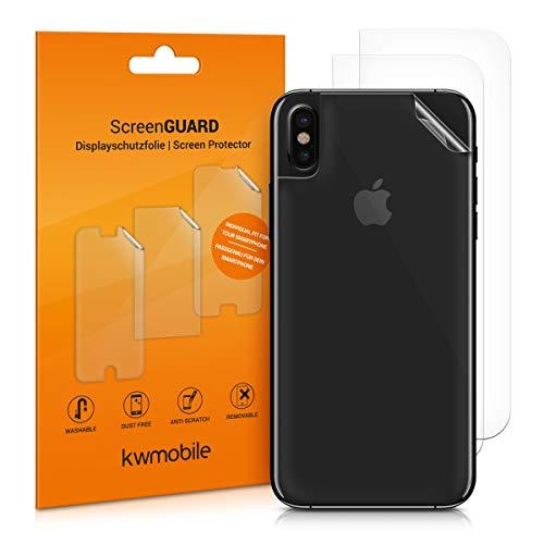 kwmobile 3X Schutzfolie Rückseite kompatibel mit Apple iPhone X - Backcover Smartphone Folie - Handyfolie transparent