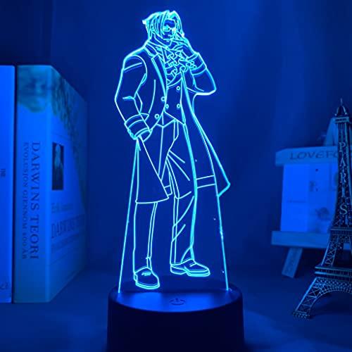 Luz de noche Led Anime as Abogado Miles edgeworth LED Luz de noche para decoración del dormitorio Regalo de cumpleaños 3D Sensor táctil Luz de noche 16 colores con control remoto