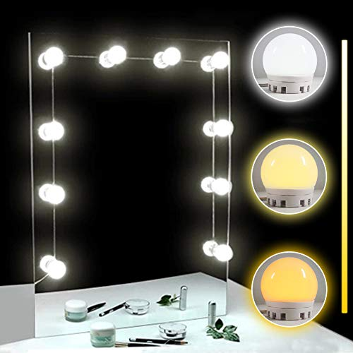 TOMNEW luces para espejo, Kit de 10 bombillas de intensidad regulable de estilo de Hollywood LED espejo de cambiador para maquillaje, Lámparas del espejo del baño de Dimmable del brillo fresco y caliente para el tocador (white & yellow light)