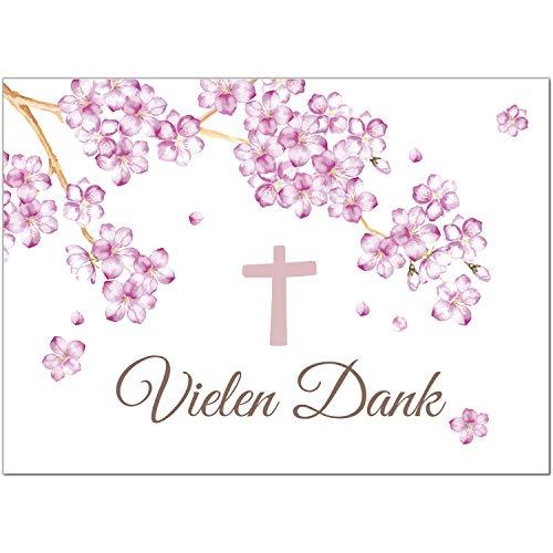 15 x Dankeskarten mit Umschlag - Kirschblüte mit Kreuz - Danksagung/Bedanken/Danke sagen zur Taufe, Kommunion, Konfirmation, kirchlich