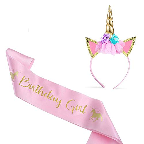 Vordas Bandeau de Licorne Satin Rose d'anniversaire, Serre-tête Licorne & Anniversaire Sash pour Les Anniversaires, Les Jeux de Rôle, Les Festivals, Etc