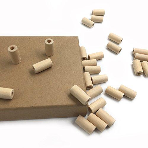 Coskiss 50pcs Natural Teether de madera 20mm * 10mm (0.79''0.39 '') Perlas De Madera Cilindro / Geometría En Forma No Acabado Eco-amigable Tubo sin tratar DIY Crafts Toy (50pcs)