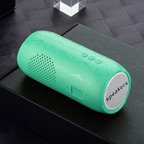 Estéreo Hi-Fi inalámbrico Bluetooth Speaker Barra de Sonido FM TF de Radio Subwoofer Altavoces Columna for teléfonos de la computadora (Color : Grass Green, Set Type : Speaker)
