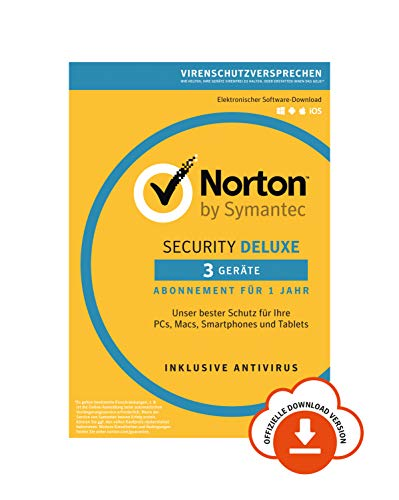 Norton Security Deluxe 2019 | 3 Geräte | 1 Jahr | PC/Mac/iOS/Android | Download, Aktivierungscode per Email