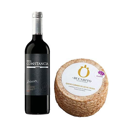 Pack de Vino tinto Finca Constancia Seleccion y Queso Curado de Leche Cruda en Tintilla - Vino de 75 cl y Queso de 900 g aprox - Mezclanza