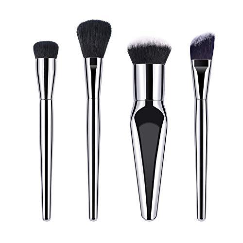 Luxe pinceau de maquillage Set Eye-liner visage professionnel Contour Blush Fondation Brosses cosmétiques pour la poudre liquide Crème Argent 4Pcs