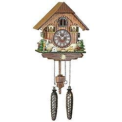 German Cuckoo Clock Quartz-movement Chalet-Style 9.84 inch - Authentic black forest cuckoo clock by Trenkle Uhren