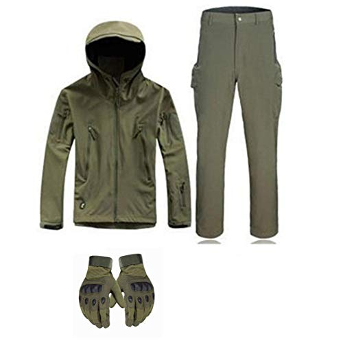 Chasse imperméable Softshell Veste et Pantalon Tactique Anti-Scratching Coupe-Vent Respirant Costumes de Cyclisme d'escalade GreenSuitGloveScarf XL