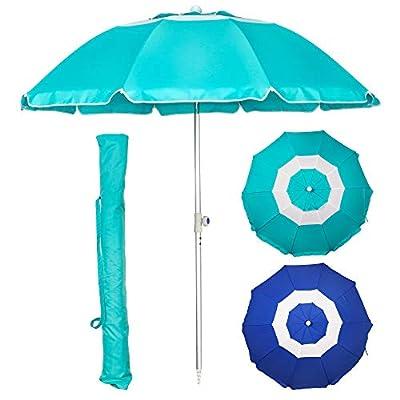 Blissun 7' Portable Beach Umbrella with Sand Anchor, Tilt Pole, Adjustable Height, Carry Bag, Air Vent, Portable Sun Shelter for Beach Patio Garden Outdoor, Turquoise