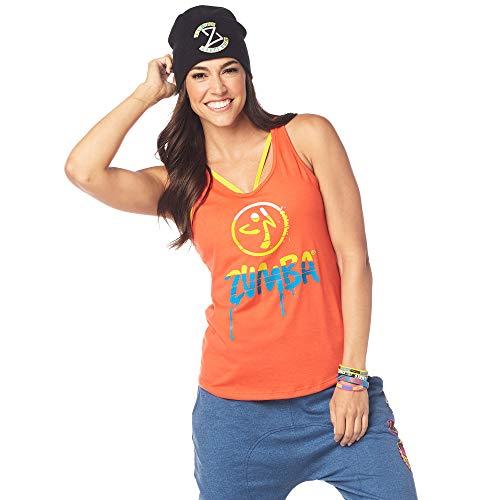 Zumba Dance Atlético Estampado Fitness Camiseta Mujer Sueltas de Entrenamiento Top Deportivo, Cherry, Large