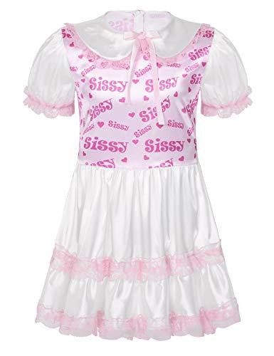 iEFiEL Herren Sissy Kleider Dienstmädchen Kostüm Cosplay Outfits Satin Puppe Nachthemd mit Spitze Saum Schlafanzug Dessous Rosa Medium
