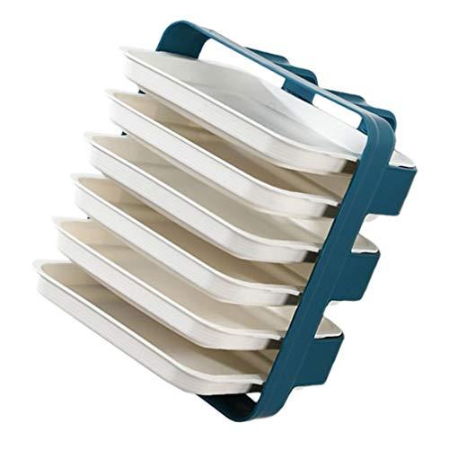 Cabilock 1 Juego de Escurridor de Platos Montado en La Pared Estante de Almacenamiento de Organizador de Platos de Olla Caliente Apilable de Plástico para Cocina (Azul)