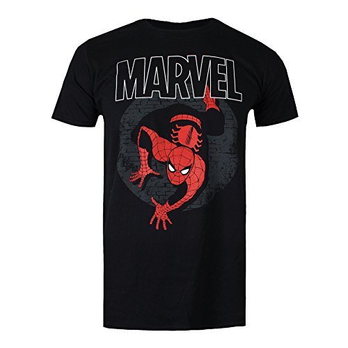 Marvel Spiderman Spotlight Camiseta, Negro (, S para Hombre