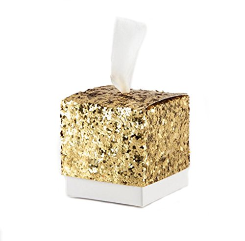 Ctystallove 30pcs DIY Paper Wedding Favor Box Bridal Shower Baby Birthday Party Candy Sugar Gift Boxes (Gold Glitter)