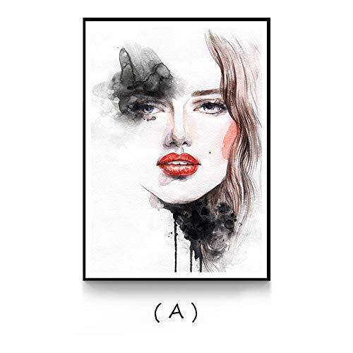 hetingyue Rahmenlose Moderne Bunte aquarell schönheit Frauen leinwand Poster drucken original dekorative wandkunst Bild von Wohnzimmer Schlafzimmer Kaffee 30x40 cm