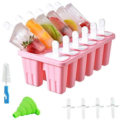 Helistar Popsicle Molds 12 Pieces DIY Reusable Silicone Ice Pop Molds Easy Release Ice Pop Maker with 16 Reusable Popsicle Sticks Silicone Funnel and Cleaning Brush, Pink