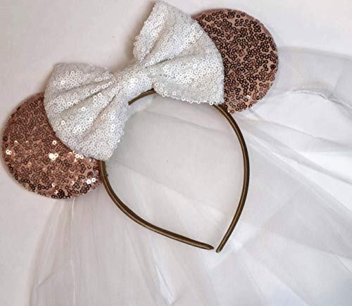 CLGIFT Bride Minnie Mouse Ears Headband, White Veil Bride Minnie Ears, Honeymoon Ears, Wedding Ears, Bachelorette Party Ears (Rose Gold & White)