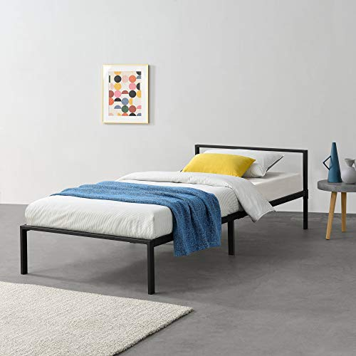 [en.casa] Metallbett 90x200 cm Minimalistisches Bettgestell Bett mit Lattenrost Stahl Schwarz