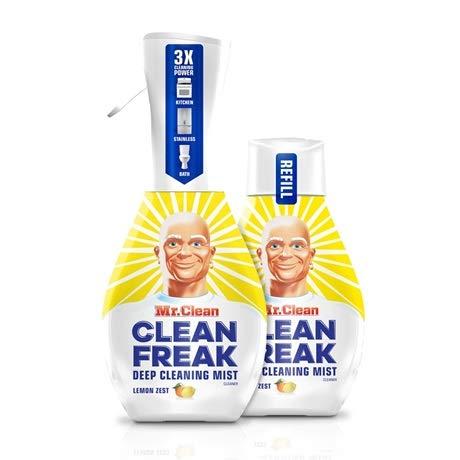 Mr. Clean Freak Deep Cleaning Mist Multi-Surface Spray Lemon Zest Bundle, 1 Starter + 1 Refill