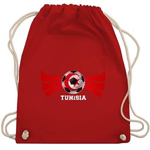 Shirtracer Fußball-Europameisterschaft 2021 - Tunisia Fußball Vintage - Unisize - Rot - tunesien trikot - WM110 - Turnbeutel und Stoffbeutel aus Baumwolle