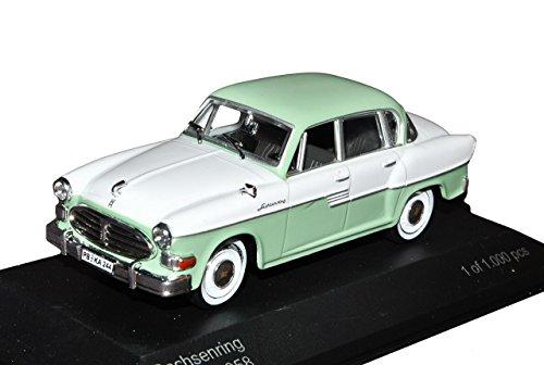 Sachsenring P240 Limousine Grün Weiss 1/43 Whitebox Modell Auto mit individiuellem Wunschkennzeichen