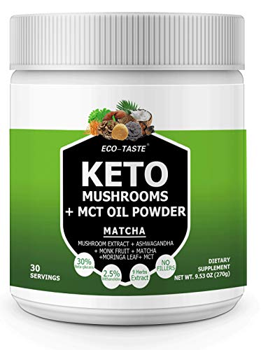 Keto Shrooms  6 Mushrooms Extract Powder + MCT Oil Powder + Ashwagandha + Monk Fruit + Moringa Leaf  Perfect for Keto, Immunity Boost, Weight Loss and Stress, 270g - Matcha