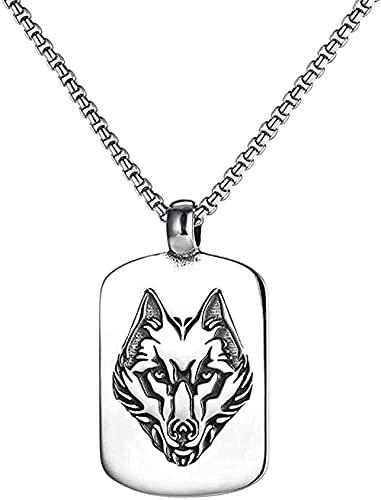 LKLFC Collar Nuevo Retro Ejército Marca Lobo Totem Colgante Collar Moda Hombre Metal Empujar Colgante Accesorios Fiesta Regalo de la joyería
