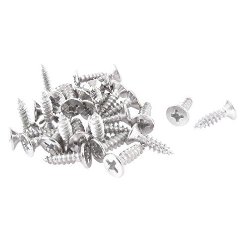 sourcing map Kreuzschlitzschrauben 30 Stück 4 mm x 14 mm selbstschneidendes Blech