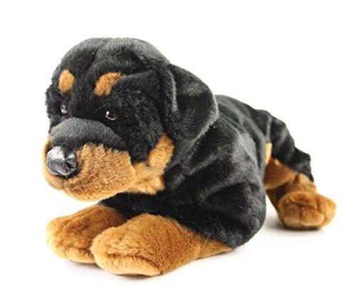 Teddys Rothenburg Kuscheltier Rottweiler Rob 45 cm liegend braun/schwarz Plüschhund Plüschrottweiler