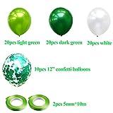 JWTOYZ 72 Stück Luftballons Grün Blau Rosa Weiß Konfetti Ballons mit Band für Geburtstag, Babyparty, Hochzeit - Grün - 6