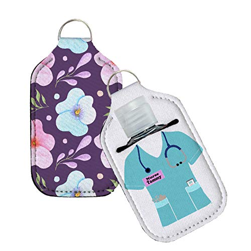 Hugs in a box Personalized Nurse Scrubs Hand Sanitizer Holder with Keyring