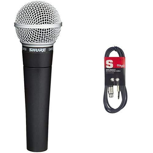 Shure Sm58-Lce Microfono Professionale Dinamico E Cardioide, Senza Cavo & Stagg SMC6XP Cavo Microfonico di Alta Qualità XLRf to Jack, 6 m, Nero