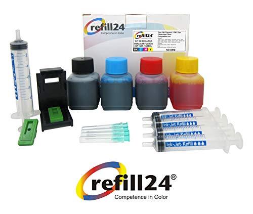 Kit de Recarga para Cartuchos de Tinta HP 301, 301 XL Negro y Color, Incluye Clip y...