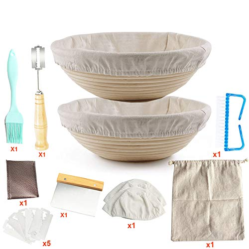 Bread Proofing Basket Set -for Sourdough Bread Starter/Premium Baking Kit 8 Pack Set/Brotform Linen Liner + Dough Scraper + Bread Lame + Bread Bag- Cleaning Brush for Professional & Home Bakers