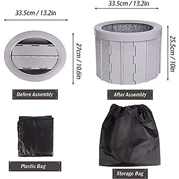 BTUWRUI Porta Potty Toilettes portables pliantes pour le camping, la randonnée, la plage (gris)
