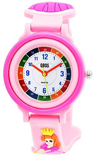 QBOS Kinder-Uhr Silikon Prinzessin Lernuhr Analog Mädchen Armbanduhr Quarz 4500025